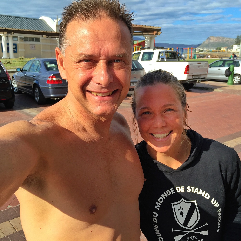 Roxy Davis and I at Surfer's Corner in front of Surf Emporium and Roxy Surf School.