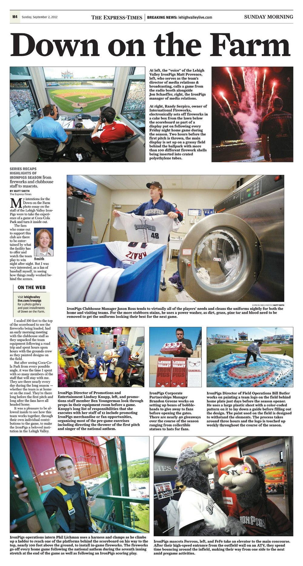 Long-term photo project on the staff of the Lehigh Valley IronPigs called 'Down on the Farm' in the pages of The Express-Times.