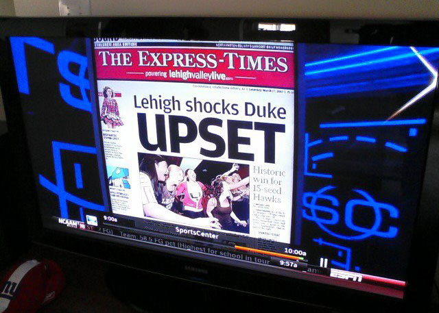 ESPN Sportscenter features The Express-Times cover, March 17th, 2012. Lehigh University students celebrate their basketball team's historic win over Duke in the NCAA Tournament.