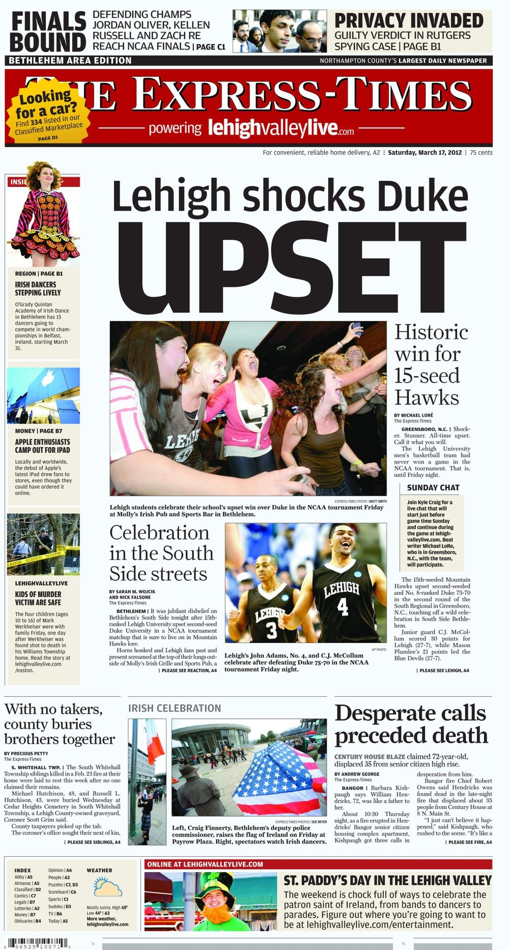 The Express-Times, March 17th, 2012. Lehigh University students celebrate as the men's basketball team upsets Duke University in the NCCA tournament.