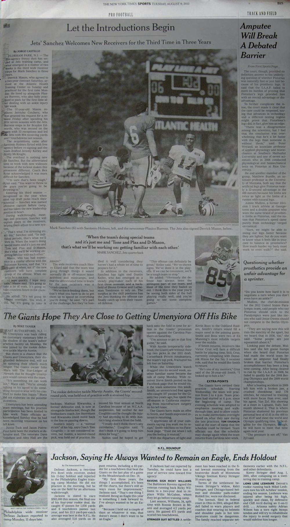 The New York Times, Tuesday, August 9th, 2011. Eagles wide receiver DeSean Jackson made his first appearance at Training Camp at Lehigh University after holding out for a new contract.