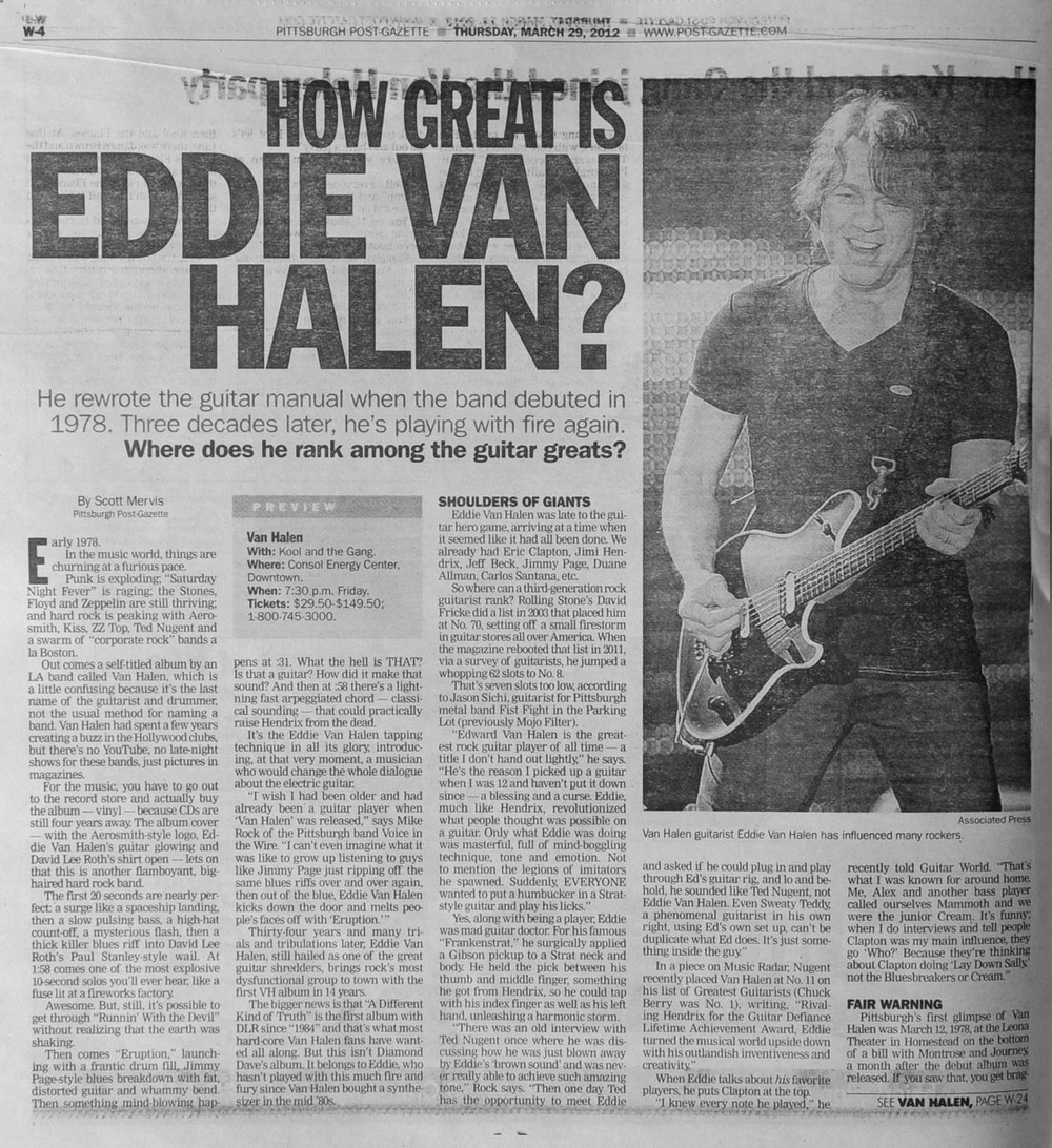 The Pittsburgh Post-Gazette, March 29th, 2012. Eddie Van Halen photographed at the Sovereign Center in Reading, PA, to preview an upcoming Van Halen show.