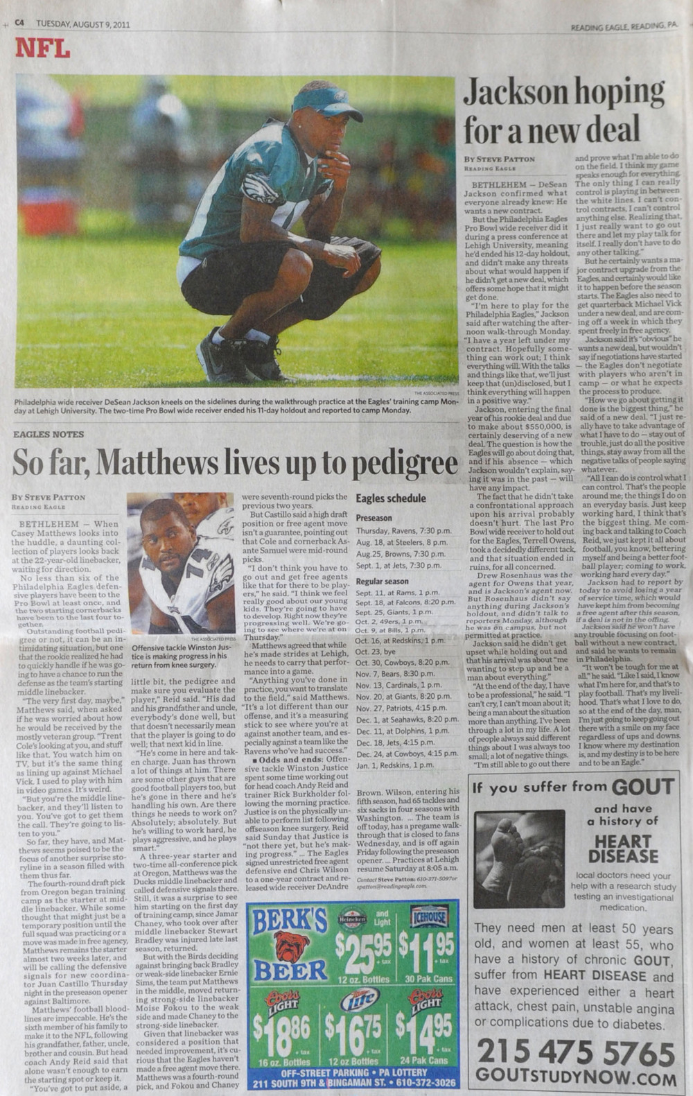 The Reading Eagle, Tuesday, August 9th, 2011. Eagles wide receiver DeSean Jackson made his first appearance at Training Camp Monday, August 8th, 2011 at Lehigh University after holding out for a new contract.