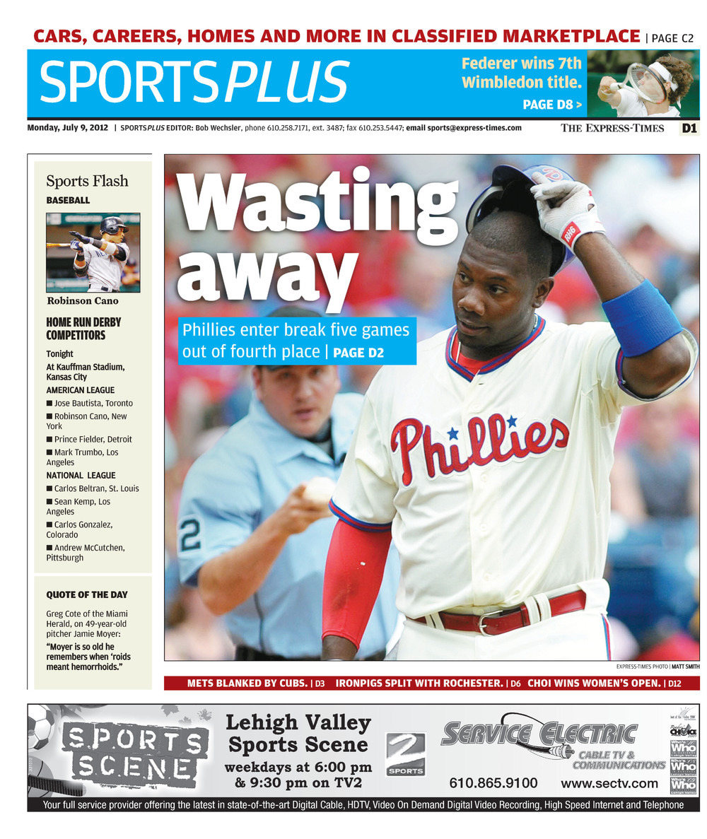 The Express-Times, July 9th, 2012.Phillies first baseman Ryan Howard strikes out, illustrating the frustrations of the team to that point in the season.