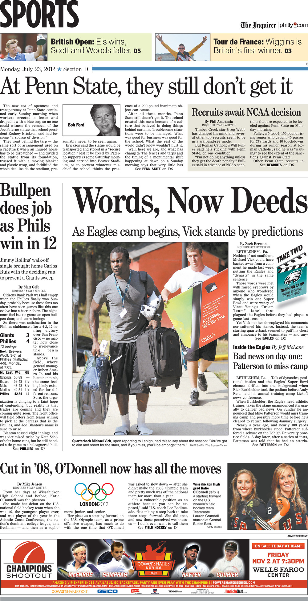 The Philadelphia Inquirer, Monday, July 23rd, 2012. Eagles quarterback Michael Vick reported with rookies to Lehigh University's Sayre Residential Village as training camp began.
