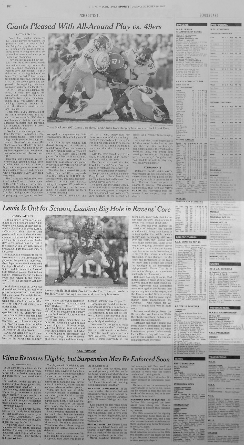The New York Times, Tuesday, October 16th, 2012. An injury leads to the announcement that veteran Baltimore Ravens linebacker Ray Lewis might be out for the season.