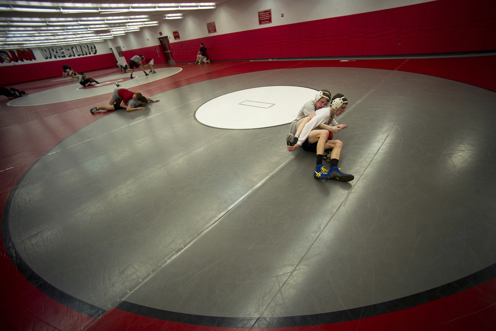 Wilson wrestler Jaryd Flank drills with other wrestlers from Parkland and Northwestern Lehigh at Parkland High School. Express-Times Photo | MATT SMITH