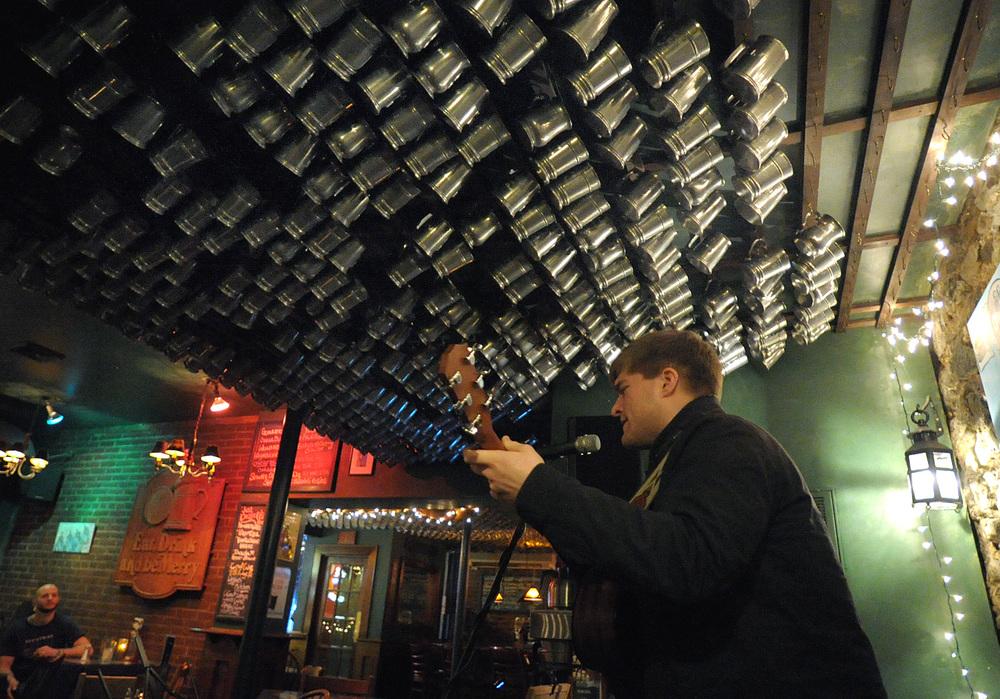 Matt Dellecker, of Belvidere, performs in a set during an open mic at Porters' Pub. Express-Times Photo | MATT SMITH