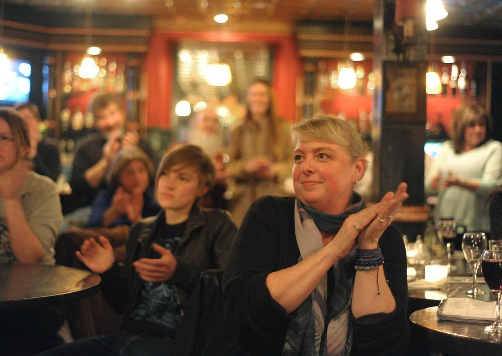 Attendees applaud performers during an open mic at Riegelsville Inn.Express-Times Photo | MATT SMITH