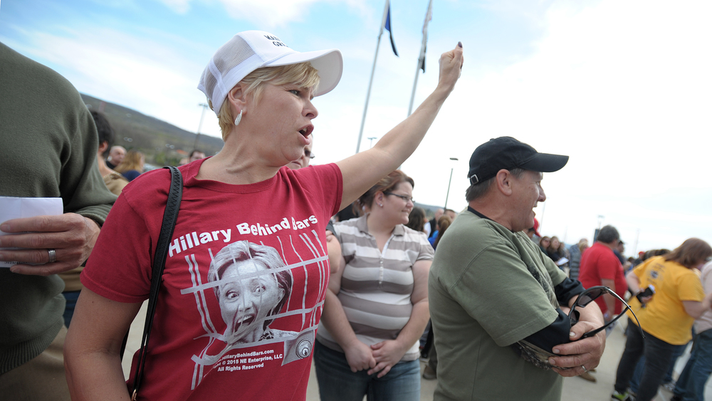 Diane Milazzo, of Pittstown, cheers while standing in line before a rally held for Republican Presidential candidate Donald Trump at Mohegan Sun Arena in Wilkes-Barre, one day before the Pennsylvania primary. (Matt Smith/Special to The Morning Call)