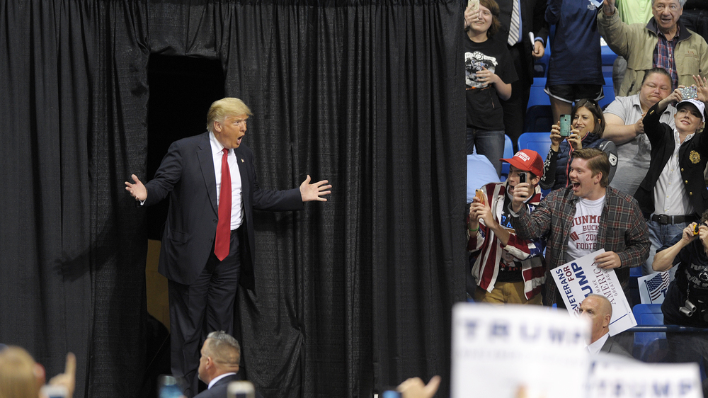 Republican Presidential candidate Donald Trump makes his appearance during a rally at Mohegan Sun Arena in Wilkes-Barre, one day before the Pennsylvania primary. (Matt Smith/Special to The Morning Call)