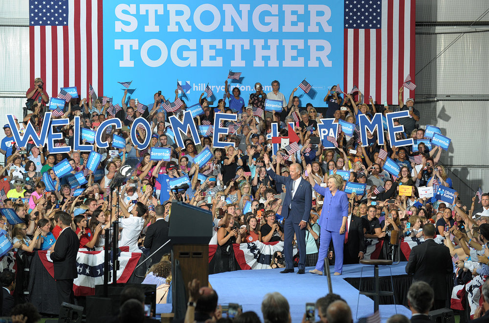 Democratic presidential candidate Hillary Clinton appeared with current Vice President Joe Biden at Riverfront Sports in Scranton, Pennsylvania. Clinton has family roots in the Scranton area, which is also Biden's hometown. (Photo by Matt Smith)