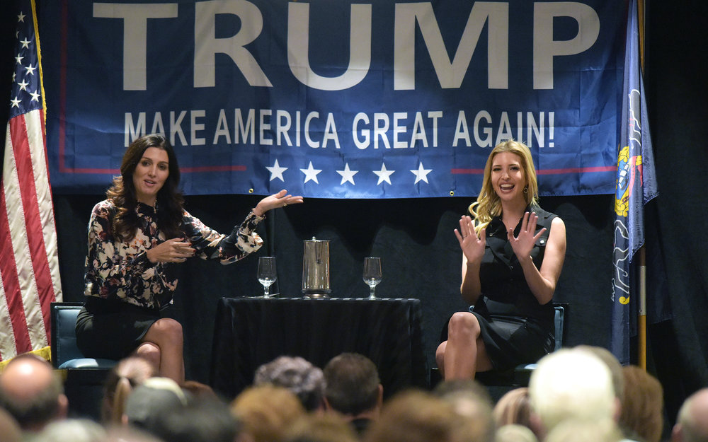 "Ivanka Trump, daughter of Republican presidential candidate Donald Trump, made an appearance to speak to supporters during a ""Coffee with Ivanka"" event at the Best Western Lehigh Valley in Hanover Township, Northampton County. The event was moderated by political analyst Erin Elmore. (Matt Smith 
