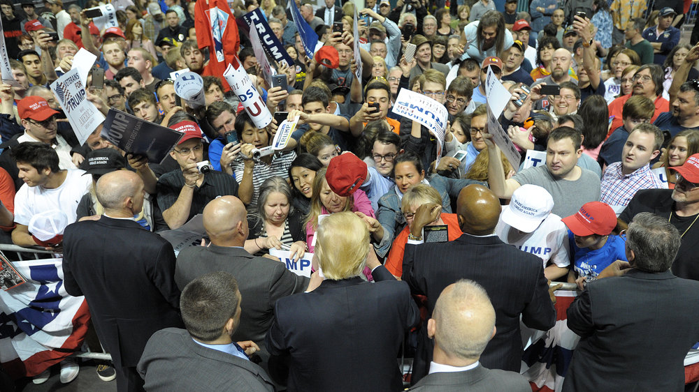 Supporters gather around Republican Presidential candidate Donald Trump during a rally at Mohegan Sun Arena on Monday in Wilkes-Barre, one day before the Pennsylvania primary. (Matt Smith/Special to The Morning Call)