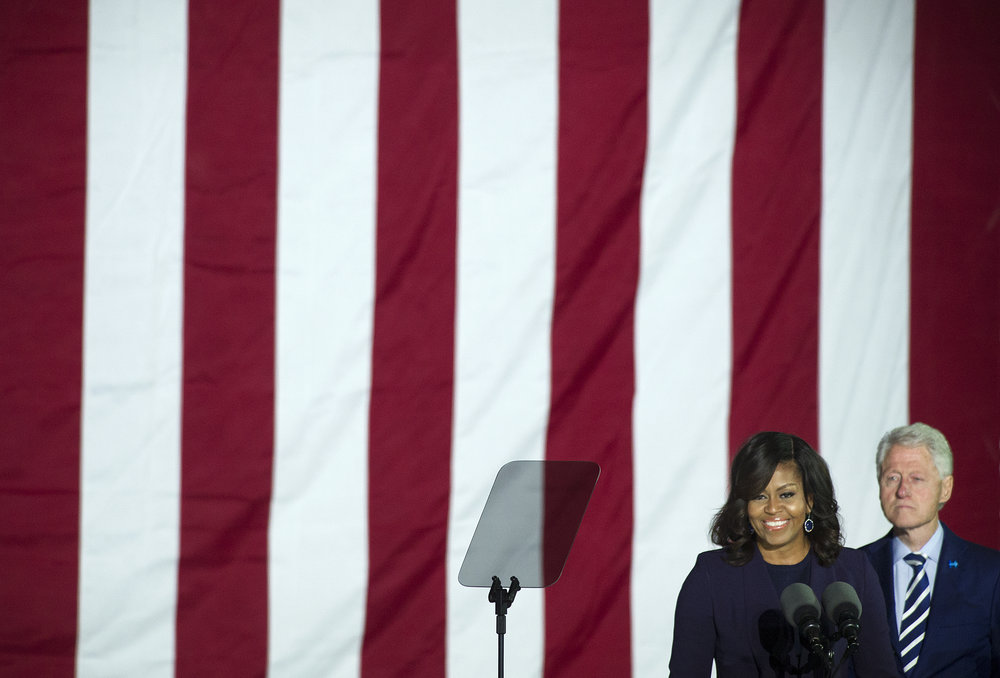 First Lady Michelle Obama speaks during a rally held for Democratic presidential candidate Hillary Clinton at Independence Mall in Philadelphia, Pennsylvania. (Photo by Matt Smith)