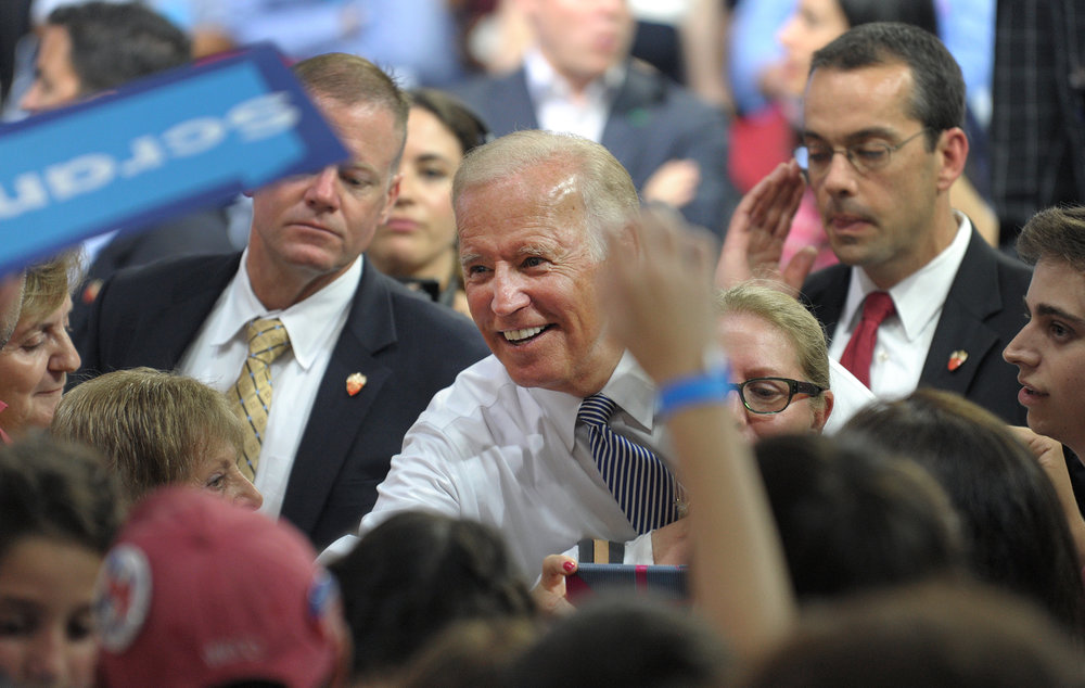Vice President Joe Biden greets supporters during a rally for Democratic presidential candidate Hillary Clinton at Riverfront Sports in Scranton, Pennsylvania. Clinton has family roots in the Scranton area, which is also Biden's hometown. (Photo by Matt Smith)