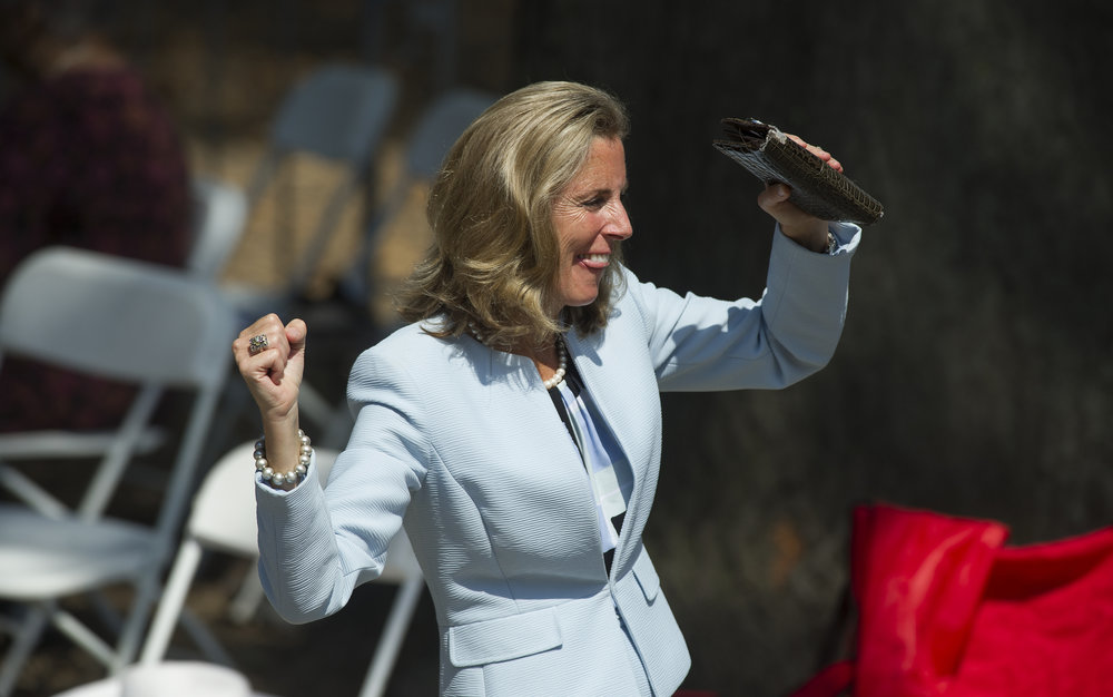 Democratic Senate nominee Katie McGinty dances as she moves through a rally where President Barack Obama appeared in support of Democratic Presidential nominee Hillary Clinton during a rally on Benjamin Franklin Parkway in Philadelphia, Pennsylvania. (Matt Smith | lehighvalleylive.com contributor)