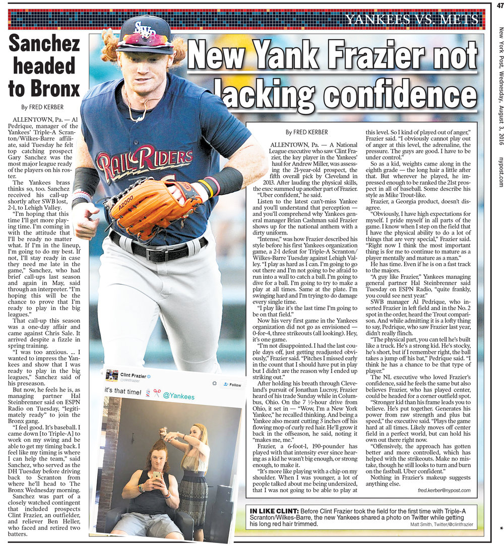New York Post, Aug. 3rd, 2016. Yankees outfielder Clint Frazier makes his first appearance with the organization during a game against the Lehigh Valley IronPigs in Allentown, PA.