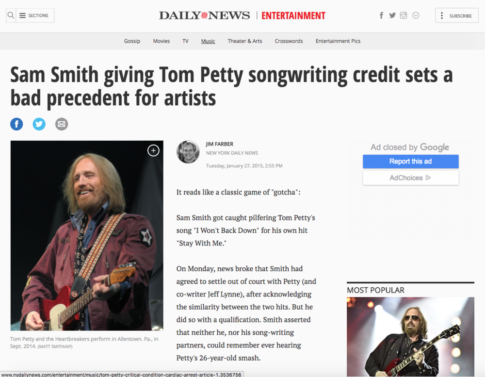 New York Daily News,Jan. 27, 2015. Tom Petty performs at PPL Center in Allentown, PA. Used with a story on a royalty lawsuit with singer Sam Smith.