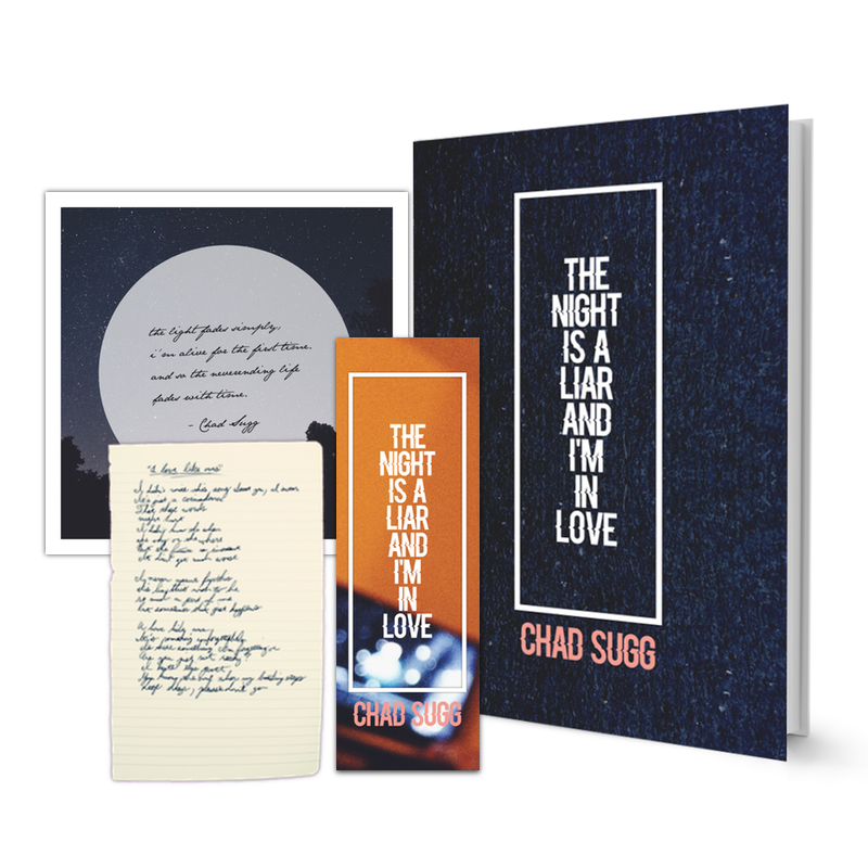 Premium Package  [Limited Edition of 3]  Includes: First Edition Book (Autographed on inside cover), Limited Edition Square Print w/ Hand Written Quote, Hand Written Original Page From Chad's Notebook, Limited Edition Bookmark  $39.99