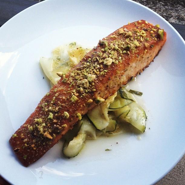 eriyaki glazed salmon w pistachios over zucchini summer salad).jpg