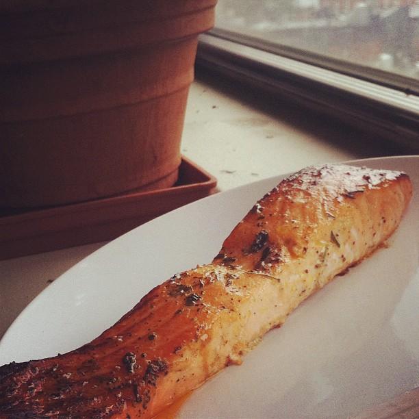 Honey tarragon broiled salmon marinated in a flavored grapefruit oil.jpg