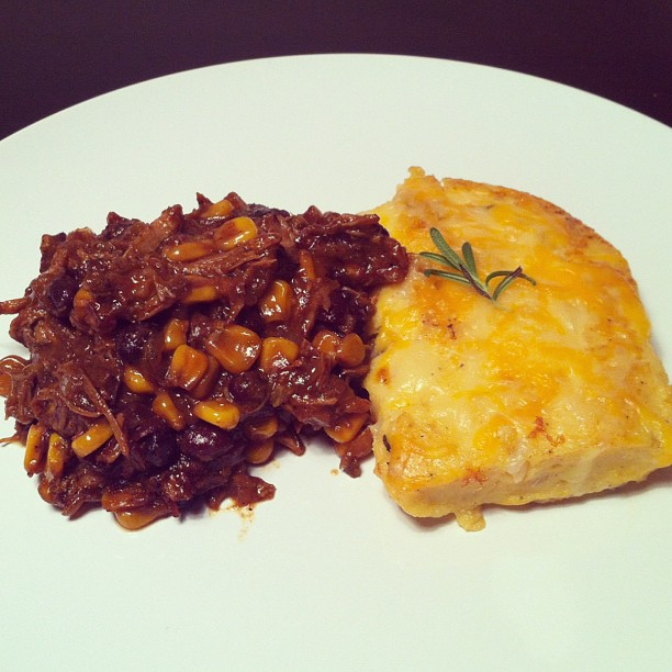Slow Cooked BBQ Pulled Pork w: Skilleted Cheddar-Parm Rosemary Polenta Cakes.jpg