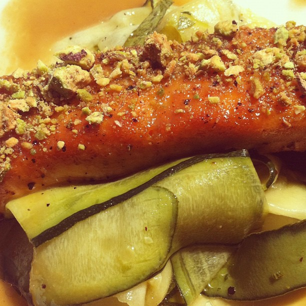 Pistachio Crusted Salmon Over Pickled Zuccini With Ginger Oil Drizzle