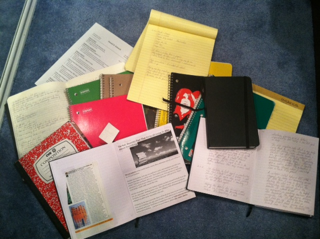 notes and notebooks (yes, that's Black Sabbath)