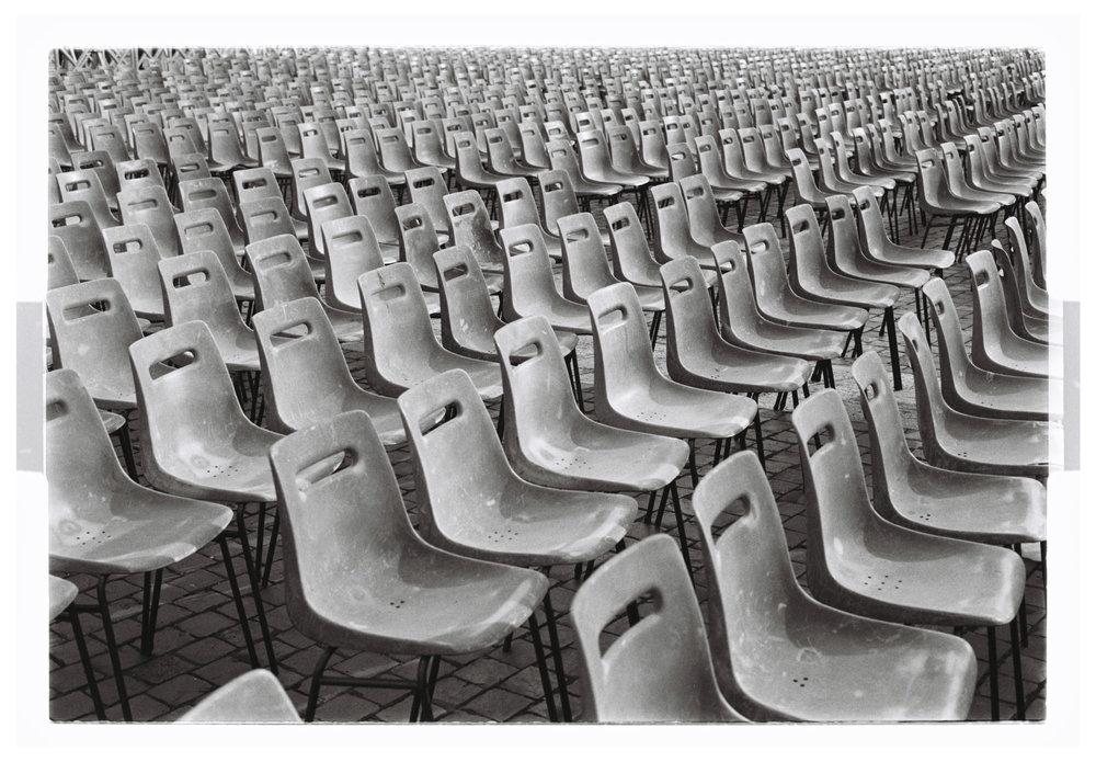 Power of Belief Chairs in Saint Peter's Square. Vatican, Italy 2016  Kodak TMAX Film
