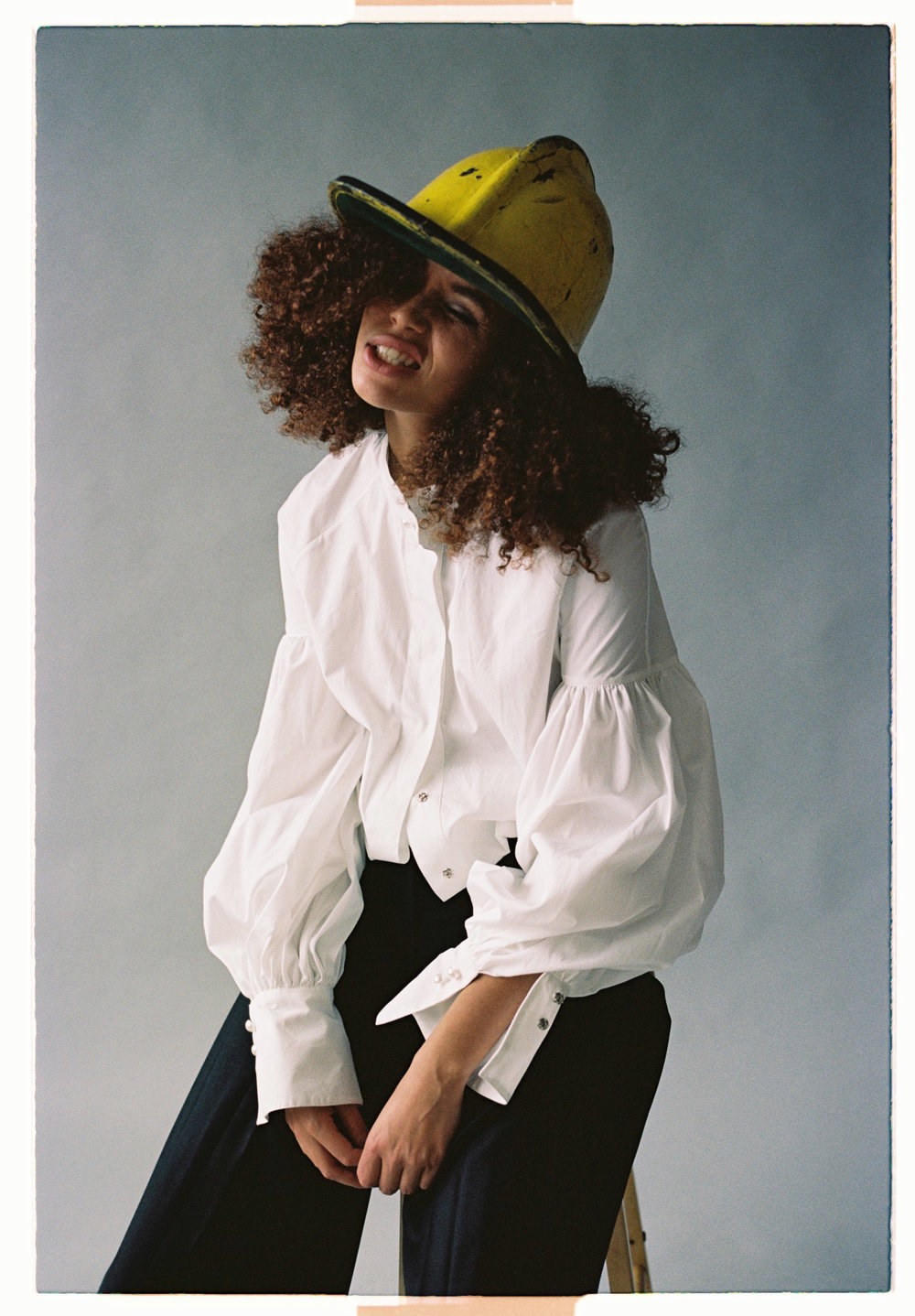 Lulu and yellow helmet.Kodak Portra 160