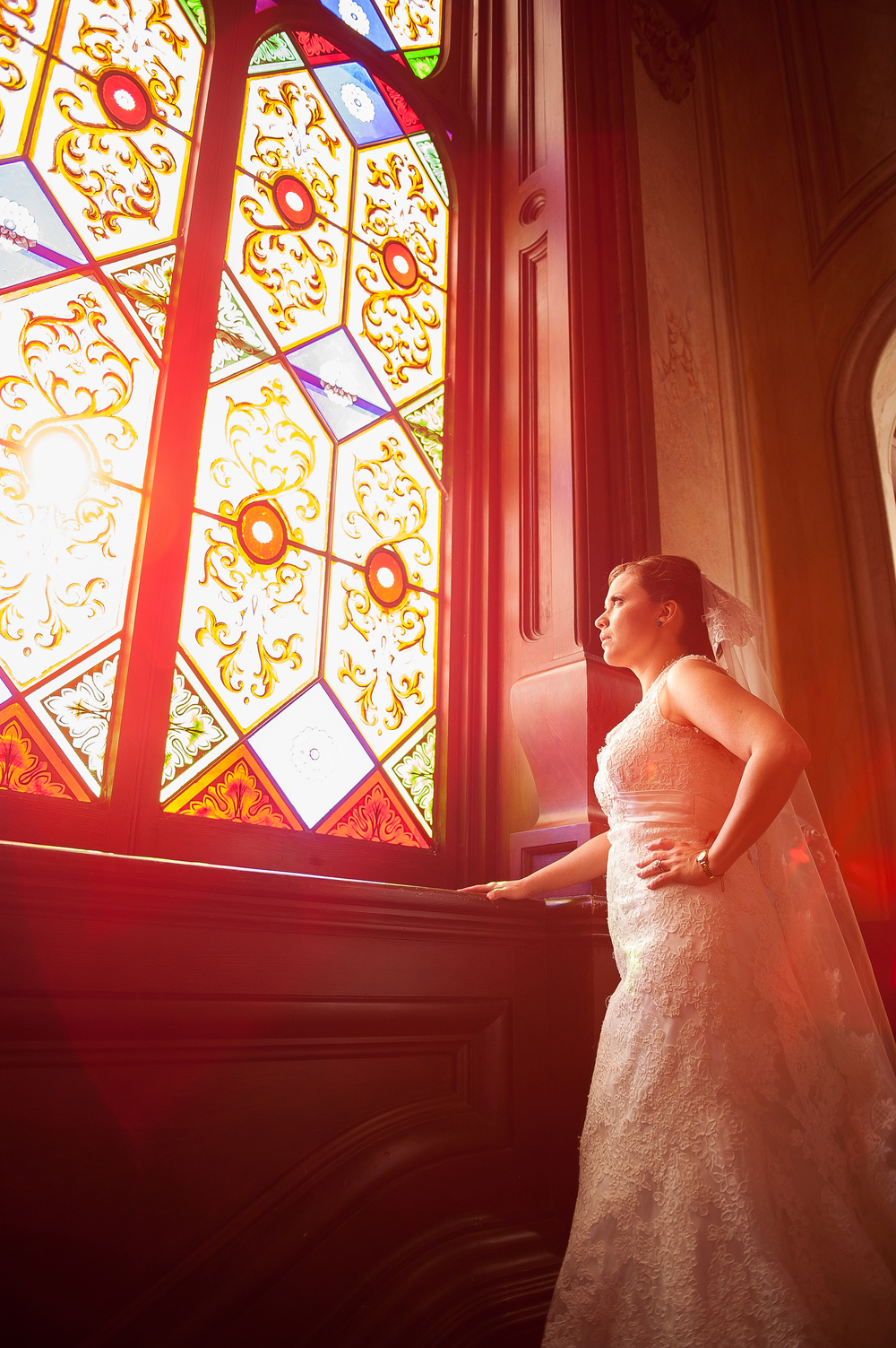 Dr Who Wedding Photos, Macon, GA Hay House stain glass