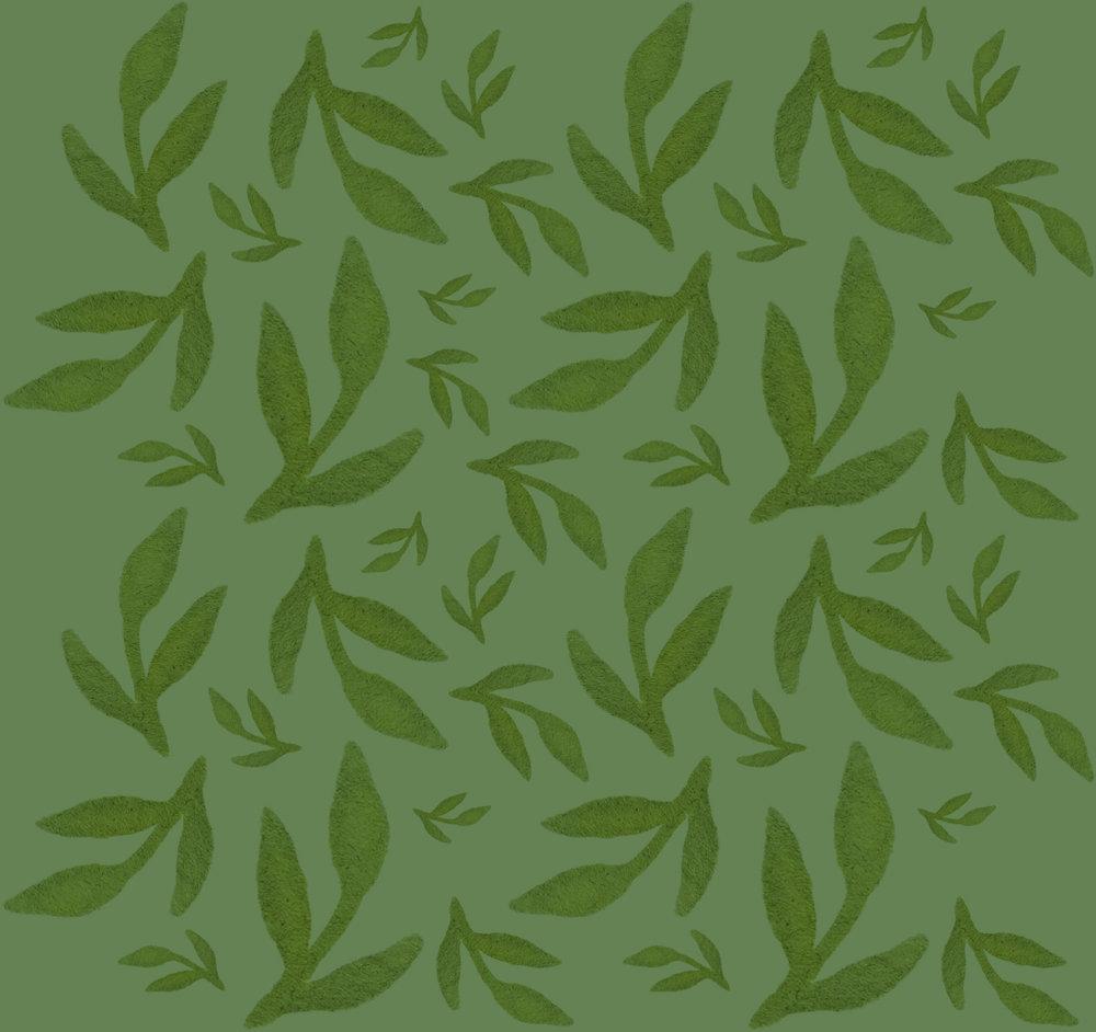 Green Leaves Pattern Dark