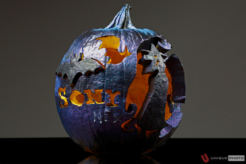 "Sony NEX pumpkin (featuring a ""witch-tographer"" shooting bats) by Taryn Truese"
