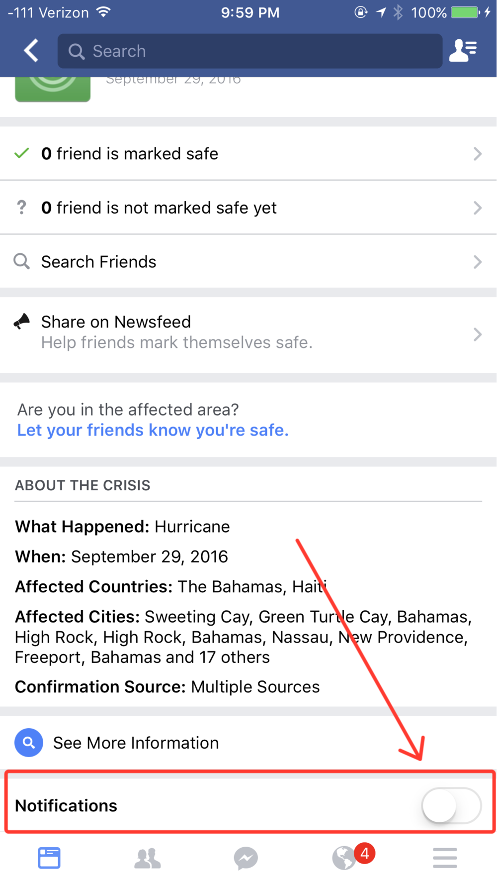 How to enable notifications for safety checkins from the Facebook app for iPhone.