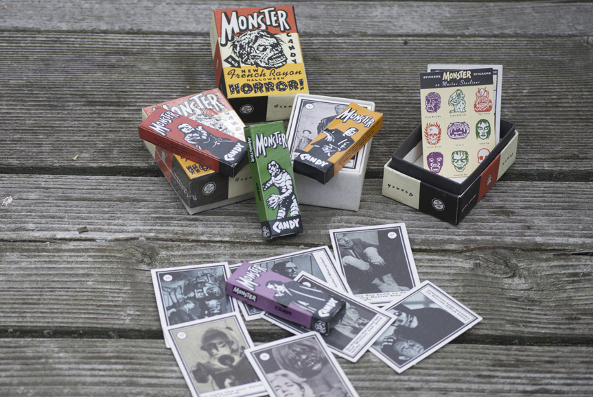A little box of monster cards and candy.