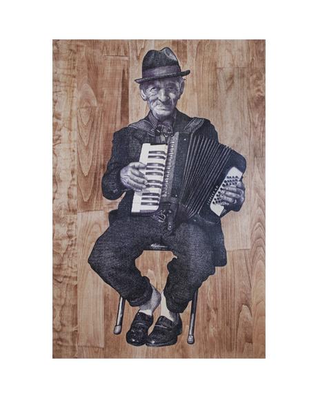 "Street Musician: Berlin  24""x36"" Ink on ash panel"