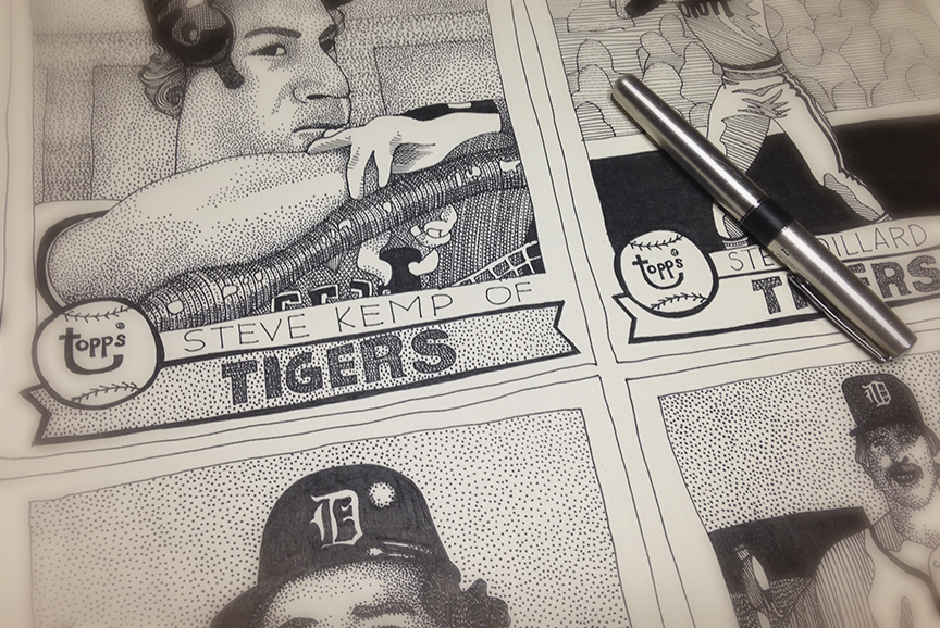 "1979 Detroit Tigers (detail)  16""x18"", ink on paper."