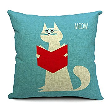 Chicozy Housewares animal doctor cat read book blue Pillow covers Cushion covers Linen pillow cover Home Decor Throw pillow CAN-062 Just $7.99