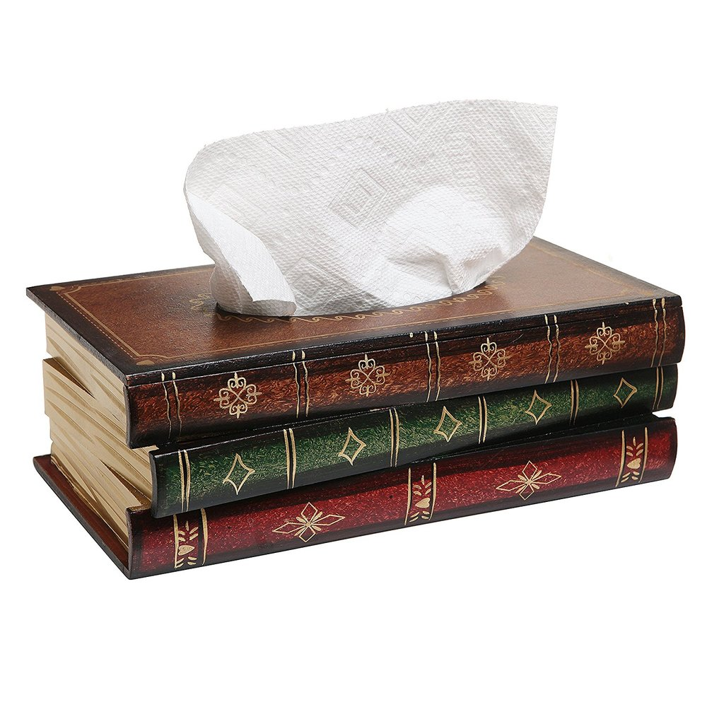 Antique Book Design Wood Bathroom Facial Tissue Dispenser Box Cover / Novelty Napkin Holder $22.50