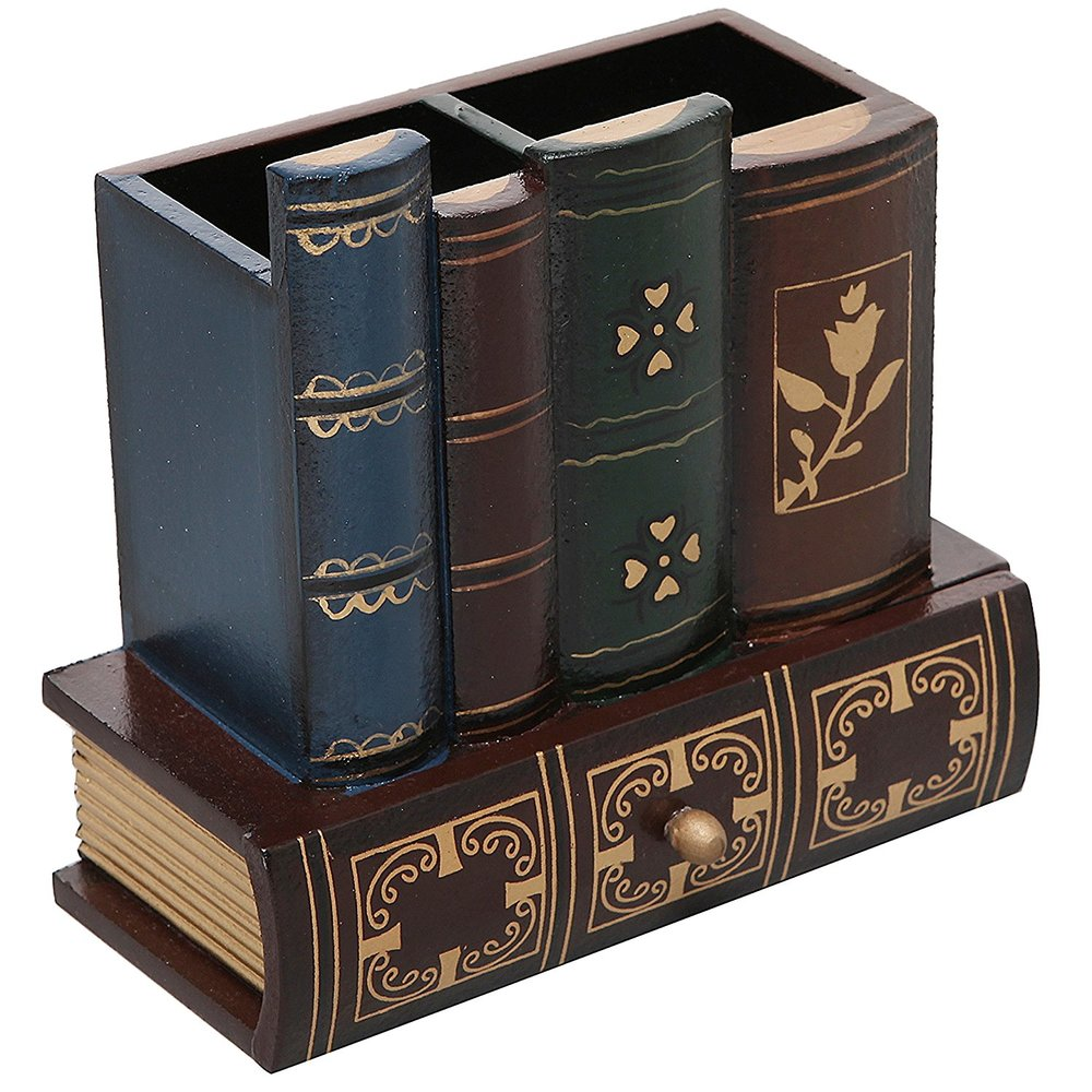Decorative Library Books Design Wooden Office Supply Caddy Pencil Holder Organizer with Bottom Drawer1.jpg