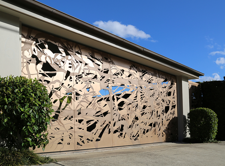 Designed by Peter Campbell | Custom Bronze Garage Door