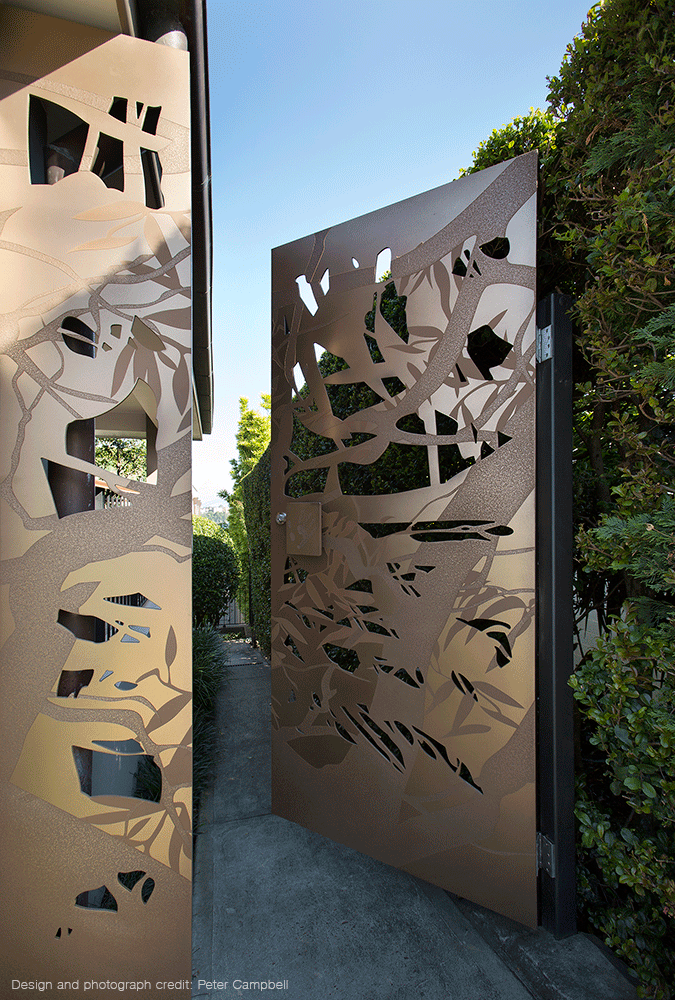 Designed by Peter Campbell | Custom Bronze Gate