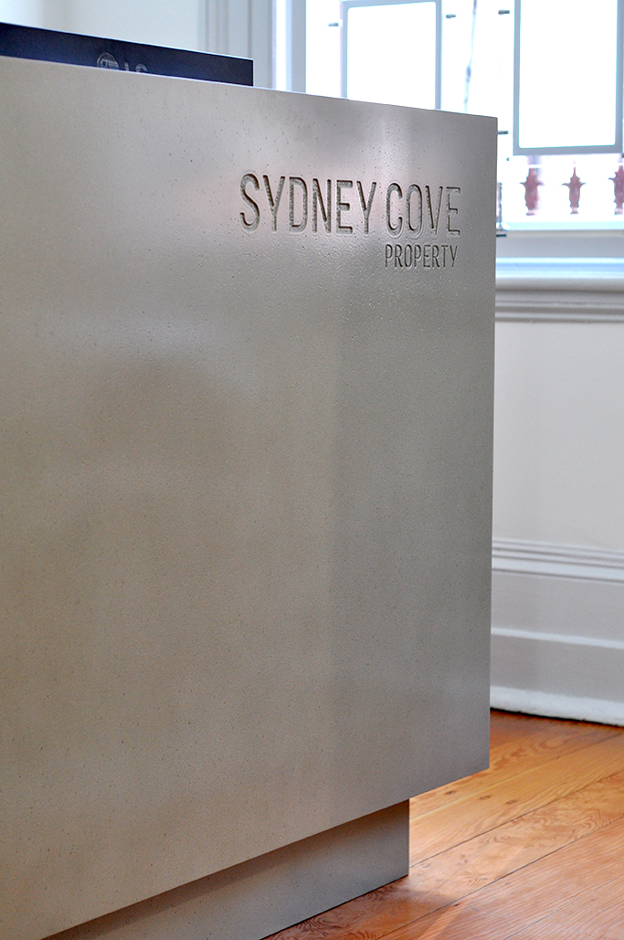 Sydney Cove Counter | Dark Shale Concrete | Carved Logo