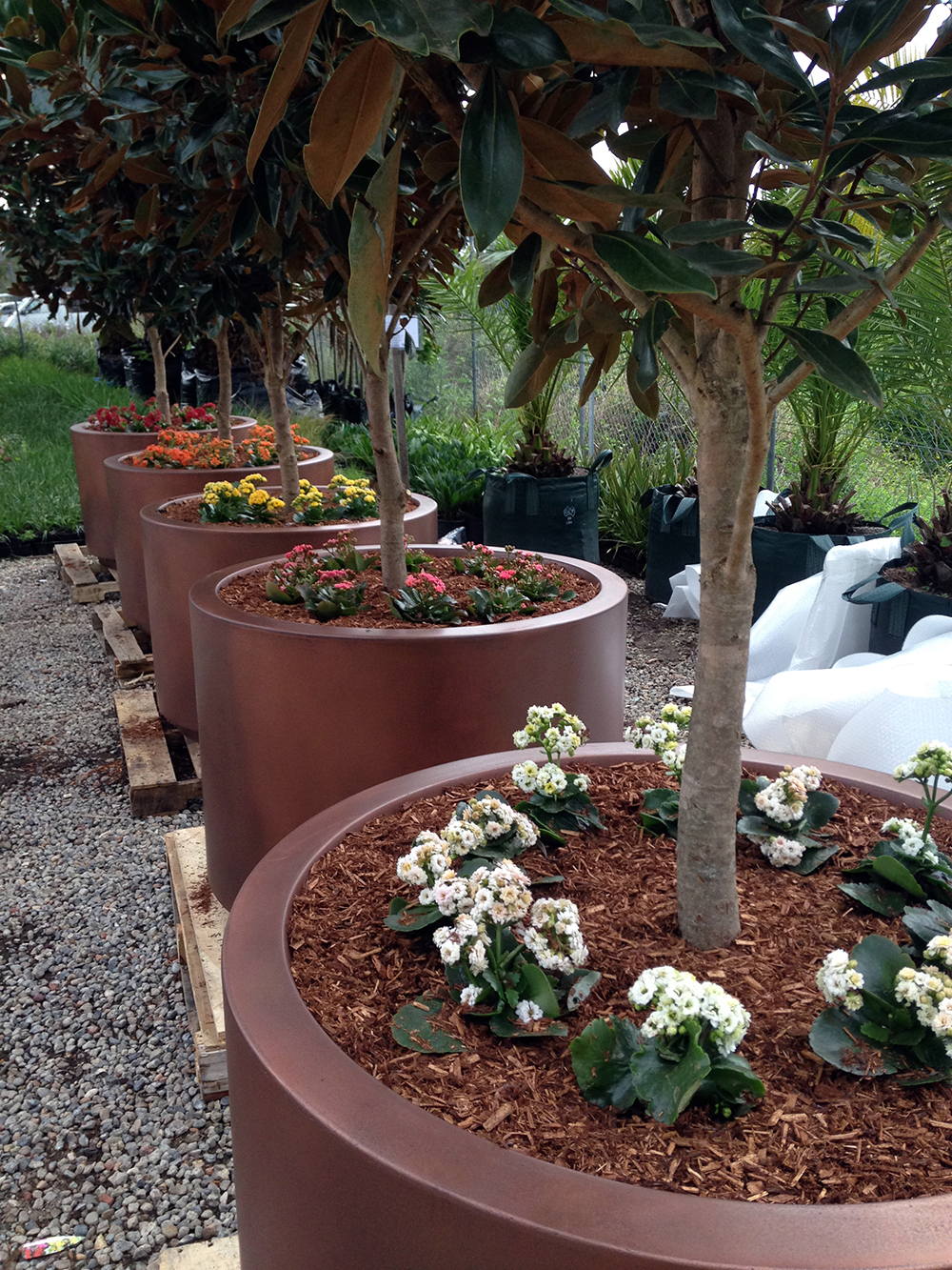 GRC Planters in Copper Smooth Pearl