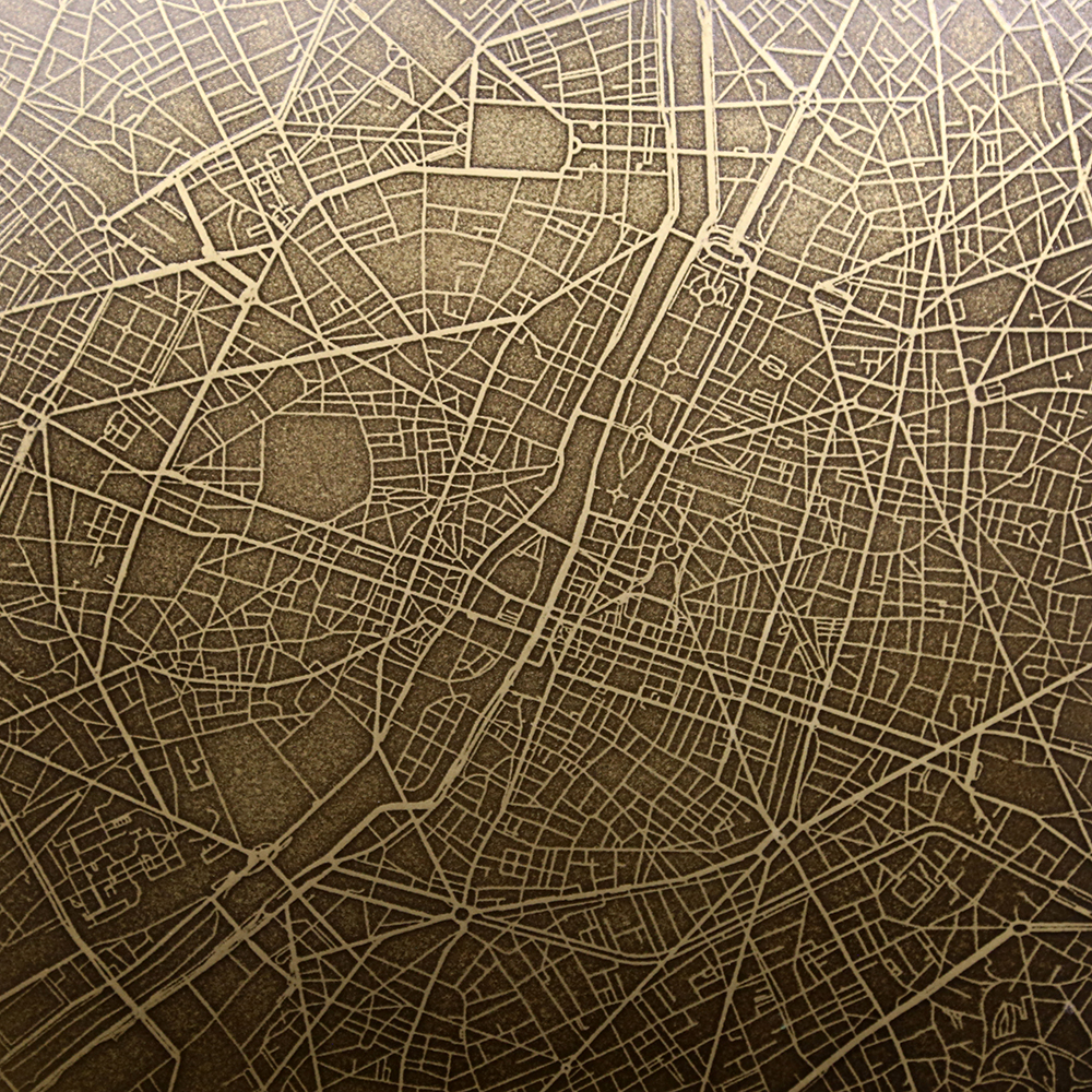 3D Printed Paris Map | Brass Brown Florentine