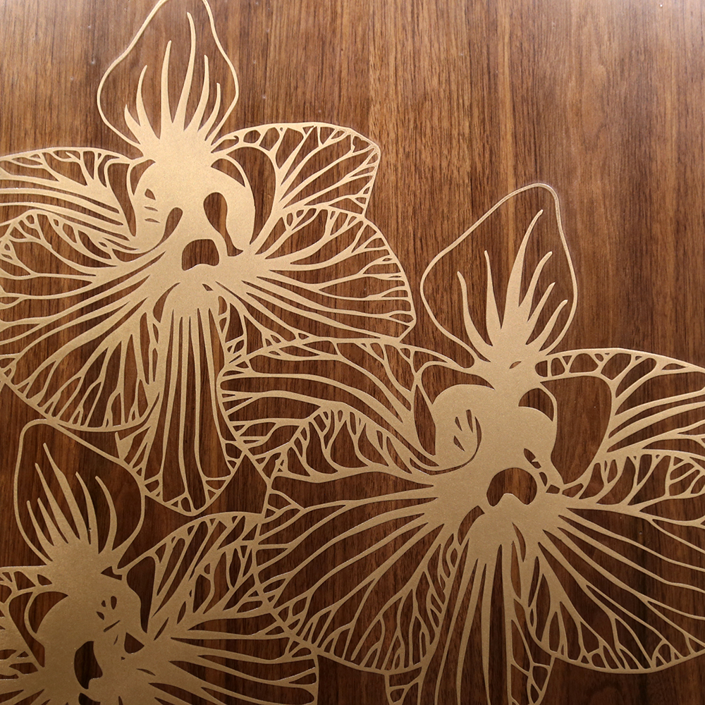 Gold Bronze Orchids on Walnut