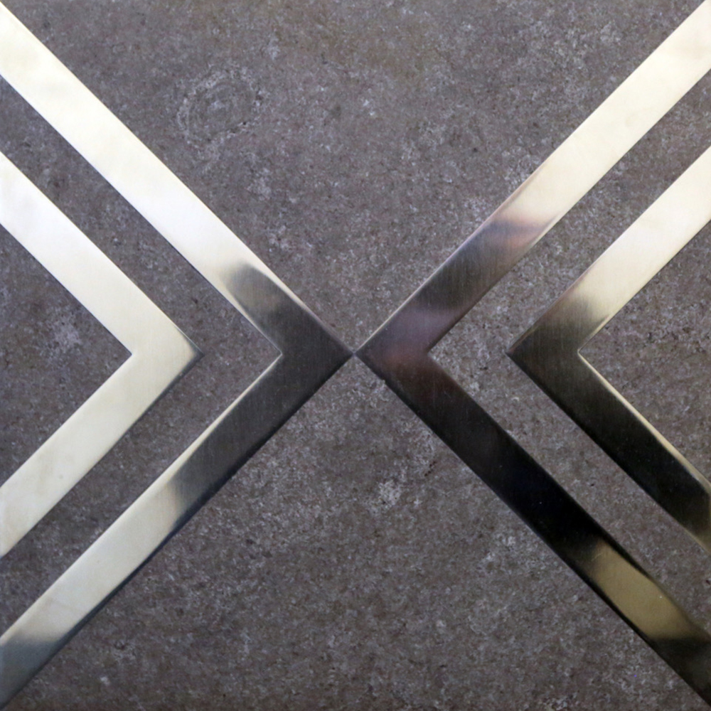 Sea Grey Stone with Stainless Chevron Inlay