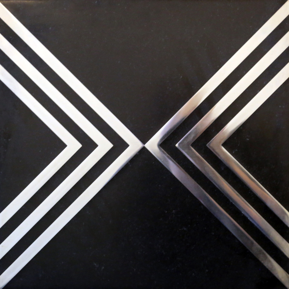 Black Lime Stone with Stainless Chevron Inlay