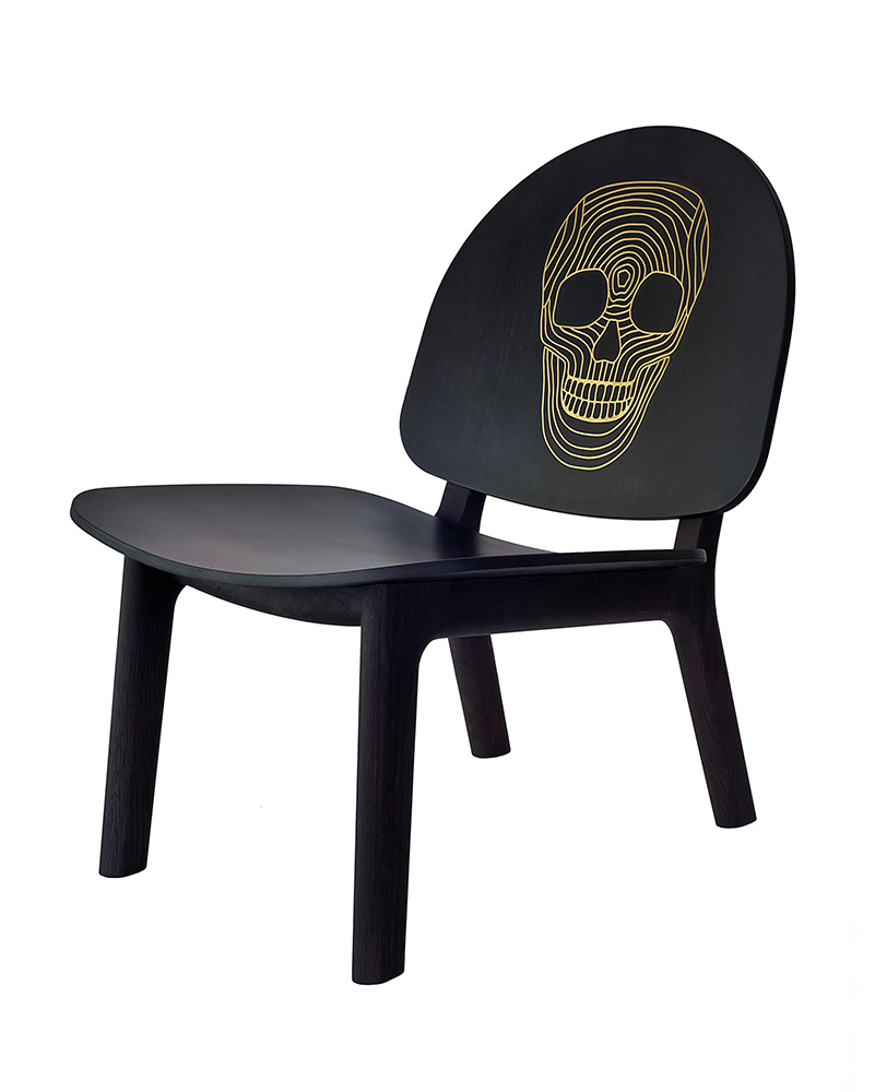 David Caon - Ghillie Chair | Brass Timber Link Skull